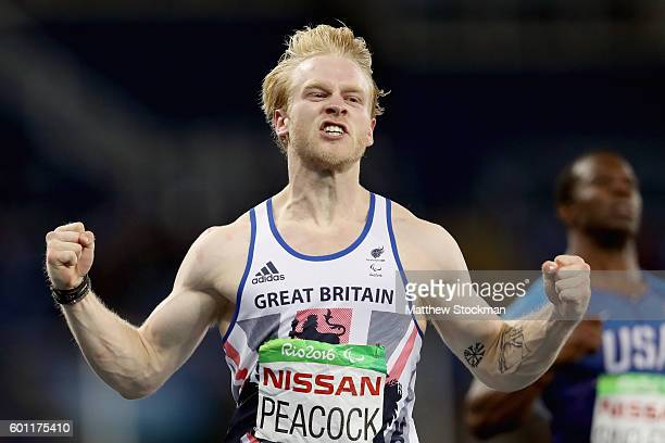 Jonnie Peacock of Great Britain celebrates after winning the men's 100 meter T44 on day 2 of the Rio 2016 Paralympic Games at on September 9 2016 in...