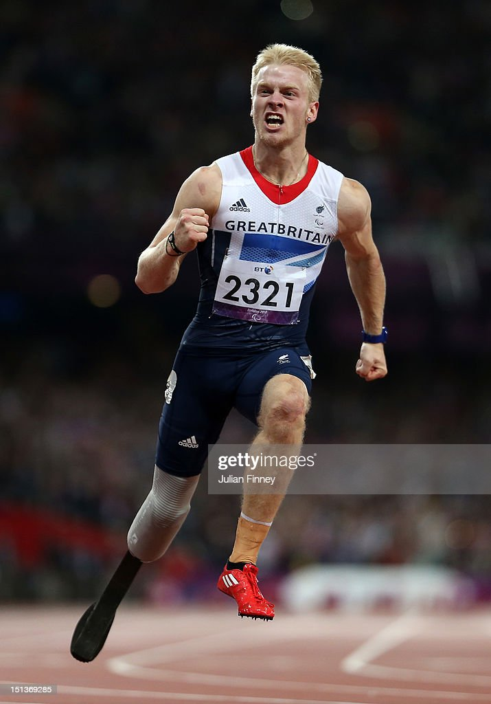 <a gi-track='captionPersonalityLinkClicked' href=/galleries/search?phrase=Jonnie+Peacock&family=editorial&specificpeople=7441025 ng-click='$event.stopPropagation()'>Jonnie Peacock</a> of Great Britain celebrates winning gold in the Men's 100m - T44 Final on day 8 of the London 2012 Paralympic Games at Olympic Stadium on September 6, 2012 in London, England.