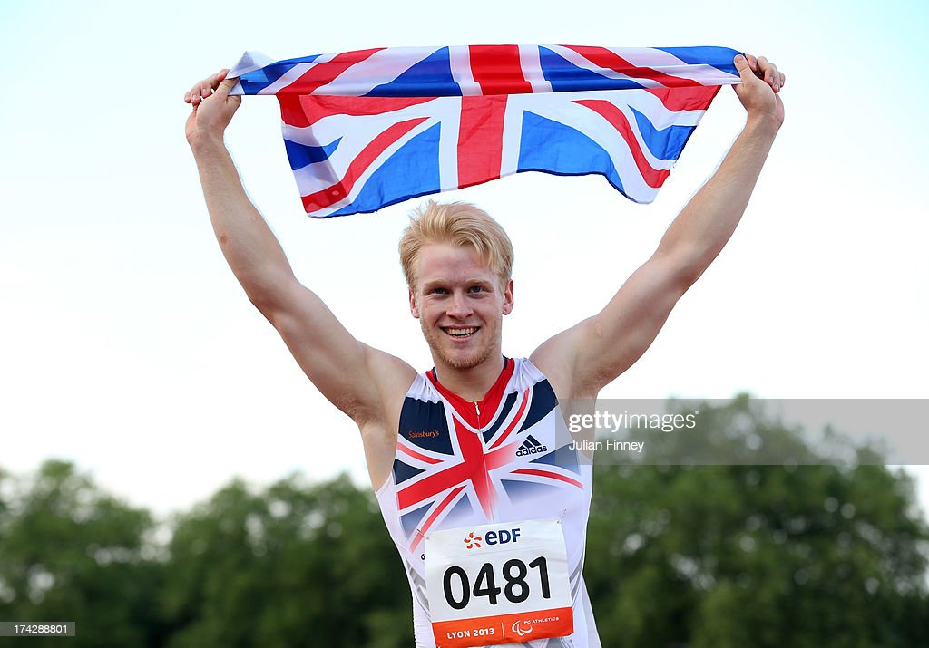 <a gi-track='captionPersonalityLinkClicked' href=/galleries/search?phrase=Jonnie+Peacock&family=editorial&specificpeople=7441025 ng-click='$event.stopPropagation()'>Jonnie Peacock</a> of Great Britain celebrates winning the Men's 100m T44 final during day four of the IPC Athletics World Championships on July 23, 2013 in Lyon, France.