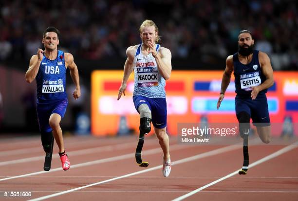 Jonnie Peacock of Great Britain Jarryd Wallace of the USA and Michail Seitis of Greece compete in the Men's 100m T44 Final during day three of the...