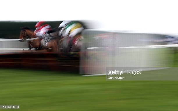 Jonniesofa ridden by Craig Nichol jumps a hurdle in the Albert Bartlett NovicesÕ Hurdle Race