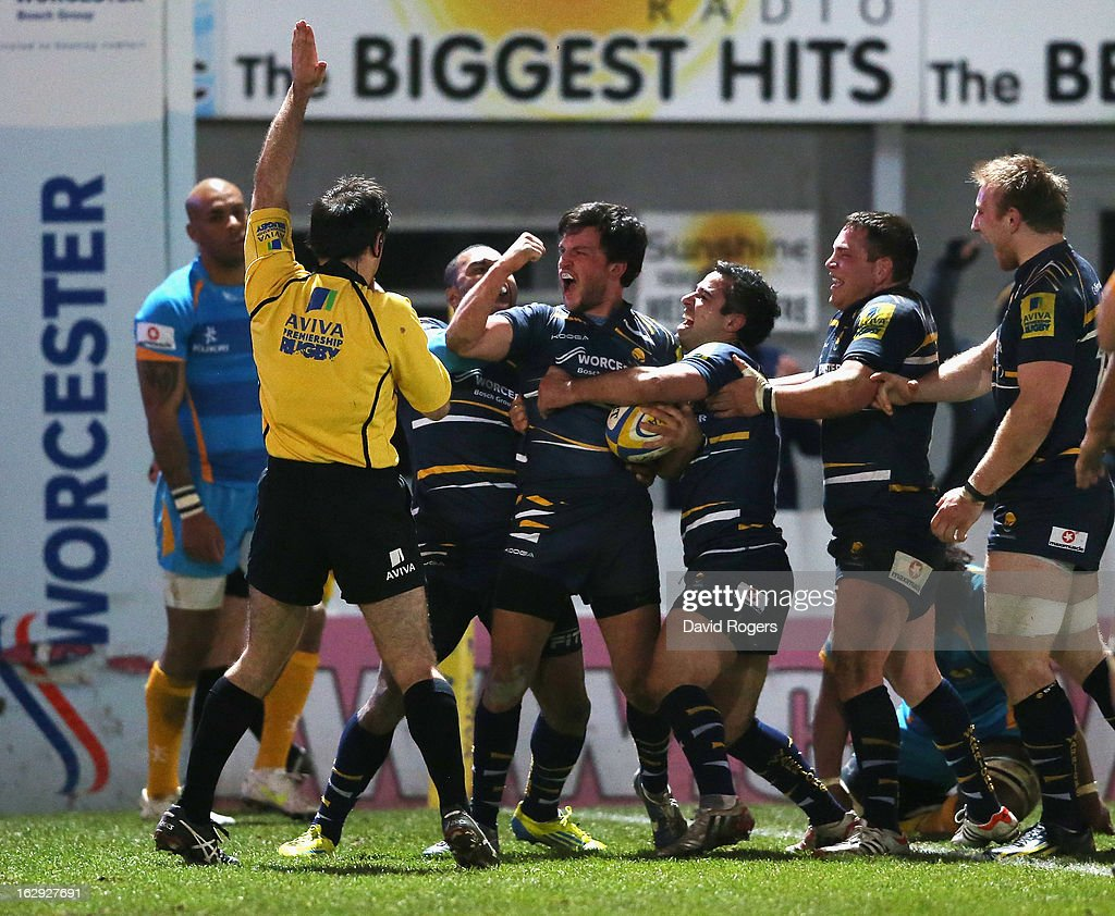 Jonny Arr of Worcester celebrates after scoring a try during the Aviva Premiership match between Worcester Warriors and London Wasps at Sixways Stadium on March 1, 2013 in Worcester, England.