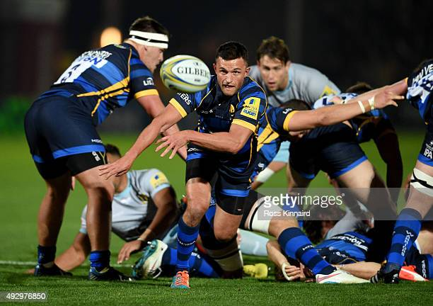 Jonny Arr of Worcester feeds his back line during the Aviva Premiership match between Worcester Warriors and Northampton Saints at Sixways Stadium on...