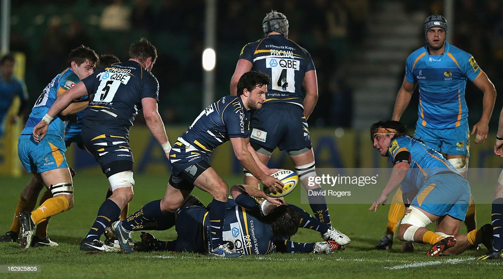 Jonny Arr of Worcester passes the ball during the Aviva Premiership match between Worcester Warriors and London Wasps at Sixways Stadium on March 1, 2013 in Worcester, England.