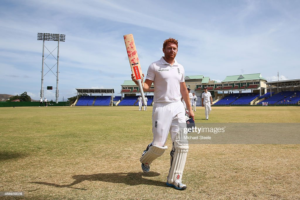 Jonny Bairstow batting for St Kitts walks off at tea undefeated on 97 runs during day one of the 2nd Invitational Warm Up match between St Kitts and Nevis and England at Warner Park on April 8, 2015 in Basseterre, St Kitts, Saint Kitts and Nevis.
