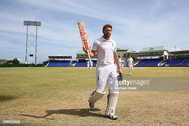 Jonny Bairstow batting for St Kitts walks off at tea undefeated on 97 runs during day one of the 2nd Invitational Warm Up match between St Kitts and...
