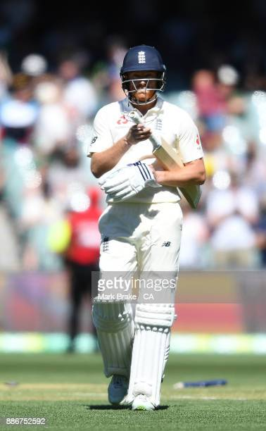 Jonny Bairstow of England after being bowled by Mitchell Starc of Australia during day five of the Second Test match during the 2017/18 Ashes Series...