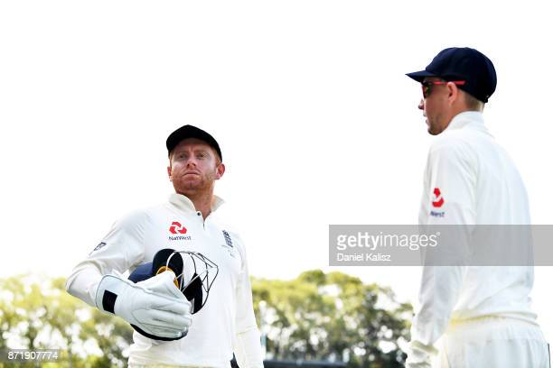 Jonny Bairstow of England and Joe Root of England look on during day two of the Four Day Tour match between the Cricket Australia XI and England at...