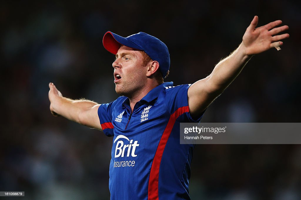 Jonny Bairstow of England asks for a drink during the 1st T20 International between New Zealand and England at Eden Park on February 9, 2013 in Auckland, New Zealand.