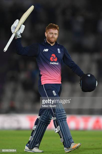 Jonny Bairstow of England celebrates his 100 during the 5th Royal London One Day International between England and West Indies at Ageas Bowl on...
