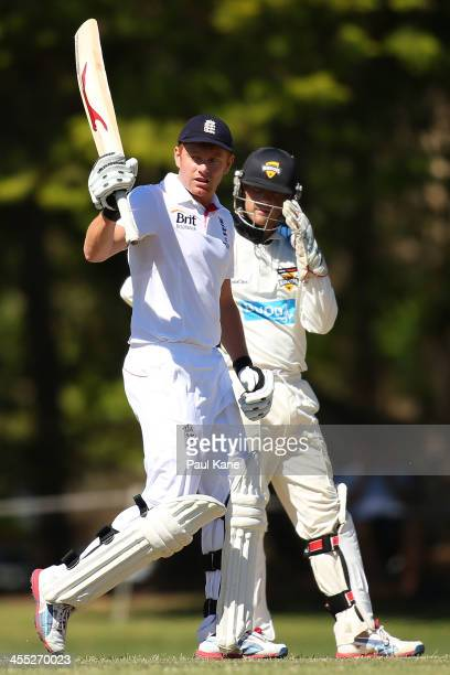 Jonny Bairstow of England celebrates his century during the tour match between Western Australia 2nd XI and England Performance Programme at James...