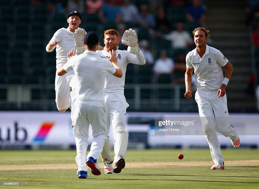 Jonny Bairstow of England celebrates running out Temba Bavuma of South Africa from <a gi-track='captionPersonalityLinkClicked' href=/galleries/search?phrase=Chris+Woakes&family=editorial&specificpeople=4444585 ng-click='$event.stopPropagation()'>Chris Woakes</a>'s fielding off <a gi-track='captionPersonalityLinkClicked' href=/galleries/search?phrase=Stuart+Broad&family=editorial&specificpeople=574360 ng-click='$event.stopPropagation()'>Stuart Broad</a> of England's bowling during day one of the 3rd Test at Wanderers Stadium on January 14, 2016 in Johannesburg, South Africa.