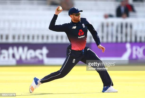 Jonny Bairstow of England fields a ball during the Royal London ODI match between England and Ireland at Lord's Cricket Ground on May 7 2017 in...