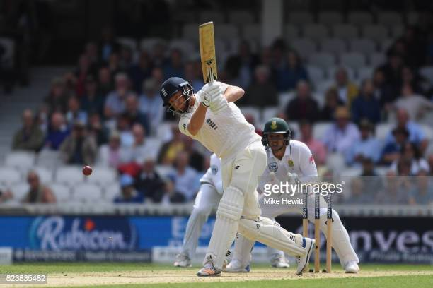 Jonny Bairstow of England hits a boundary during Day Two of the 3rd Investec Test match between England and South Africa at The Kia Oval on July 28...