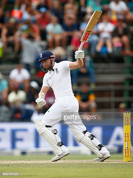 Jonny Bairstow of England hits out during day three of the 3rd Test at Wanderers Stadium on January 16 2016 in Johannesburg South Africa