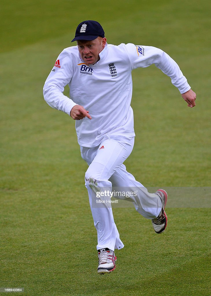 Jonny Bairstow of England in full flight in the field during day two of 1st Investec Test match between England and New Zealand at Lord's Cricket Ground on May 17, 2013 in London, England.