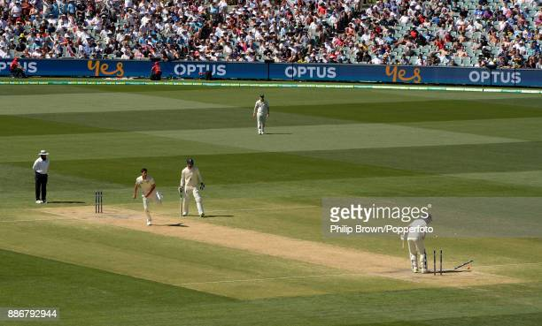 Jonny Bairstow of England is bowled by Mitchell Starc as Australia won the second Ashes cricket test match between Australia and England at the...