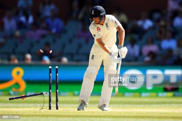 Jonny Bairstow of England is bowled by Mitchell Starc of Australia during day five of the Second Test match during the 2017/18 Ashes Series between...