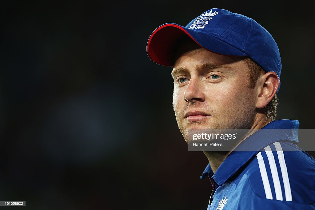 Jonny Bairstow of England looks on during the 1st T20 International between New Zealand and England at Eden Park on February 9, 2013 in Auckland, New Zealand.