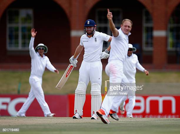 Jonny Bairstow of England looks to the umpire as Dieter Klein of South Africa appeals successfully to take his wicket during day three of the tour...