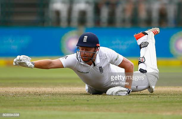 Jonny Bairstow of England makes his ground without his bat during day five of the 2nd Test at Newlands Stadium on January 6 2016 in Cape Town South...