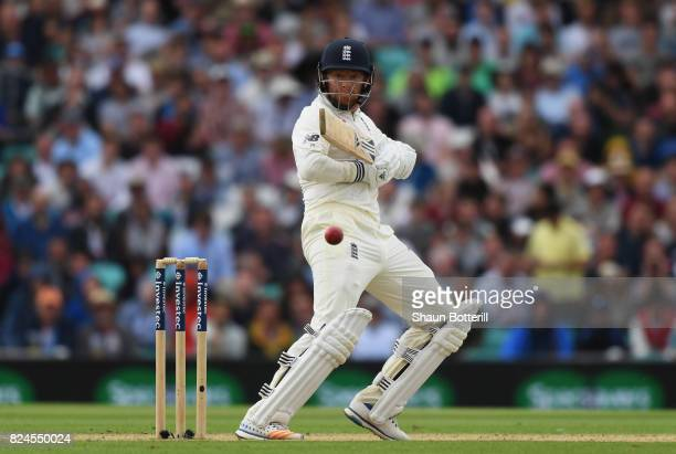 Jonny Bairstow of England plays a shot during day four of the 3rd Investec Test match between England and South Africa at The Kia Oval on July 30...