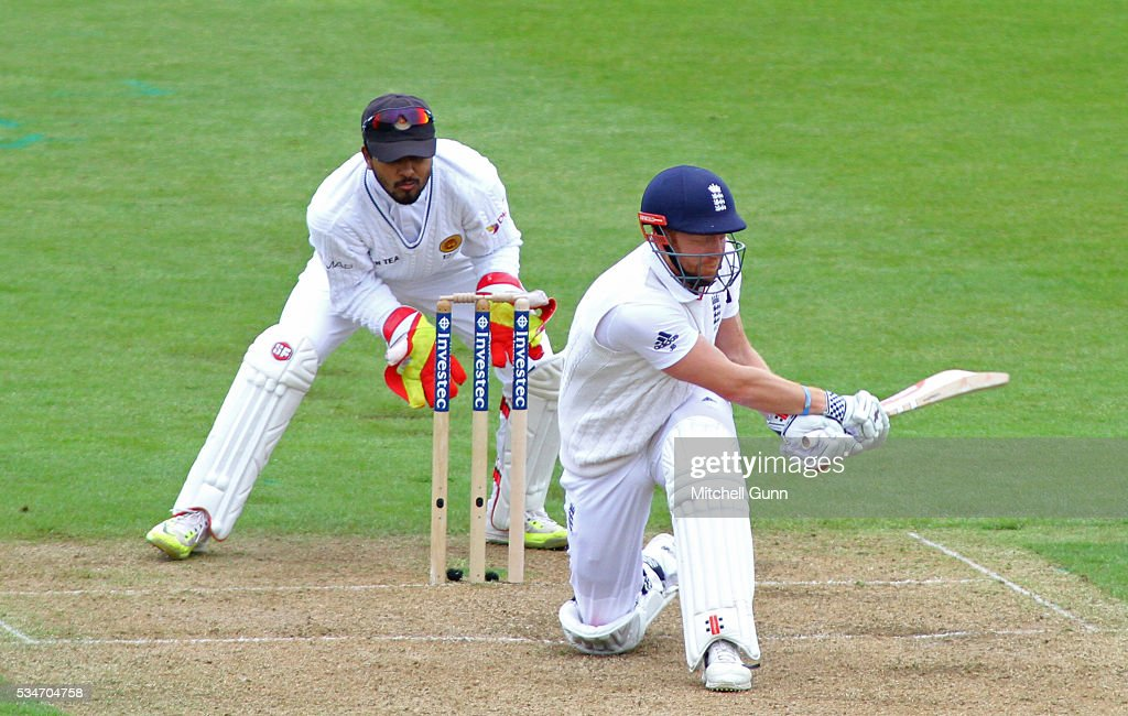 Jonny Bairstow of England plays a shot during day one of the 2nd Investec Test match between England and Sri Lanka at Emirates Durham ICG on May 27, 2016 in Chester-le-Street, United Kingdom.