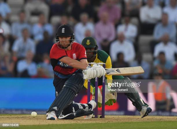 Jonny Bairstow of England plays a shot during the 1st NatWest T20 International match between England and South Africa at Ageas Bowl on June 21 2017...