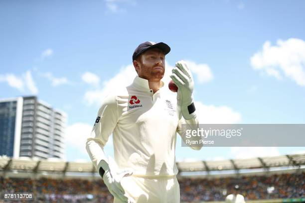 Jonny Bairstow of England prepares to field during day two of the First Test Match of the 2017/18 Ashes Series between Australia and England at The...