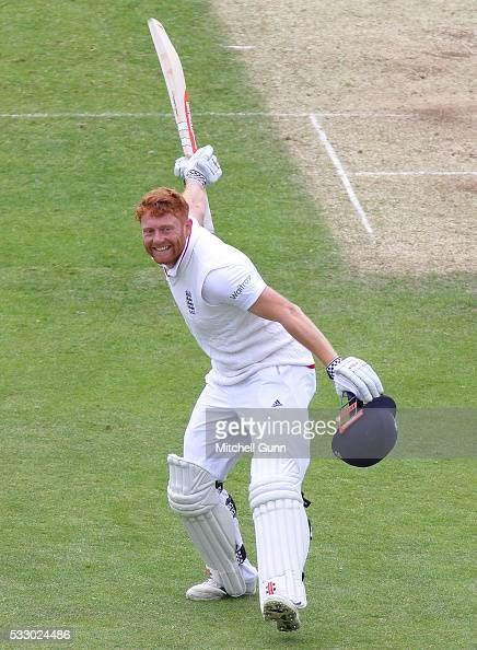 Jonny Bairstow of England raises his bat and celebrates scoring a century during day two of the Investec Test match England v Sri Lanka at Headingley...