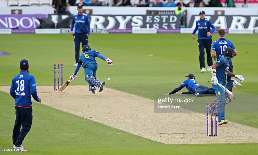 Jonny Bairstow of England runs out Kusal Perera of Sri Lanka during the 4th Royal London One-Day International between England and Sri Lanka at The Kia Oval Cricket Ground on June 29, 2016 in London, England.