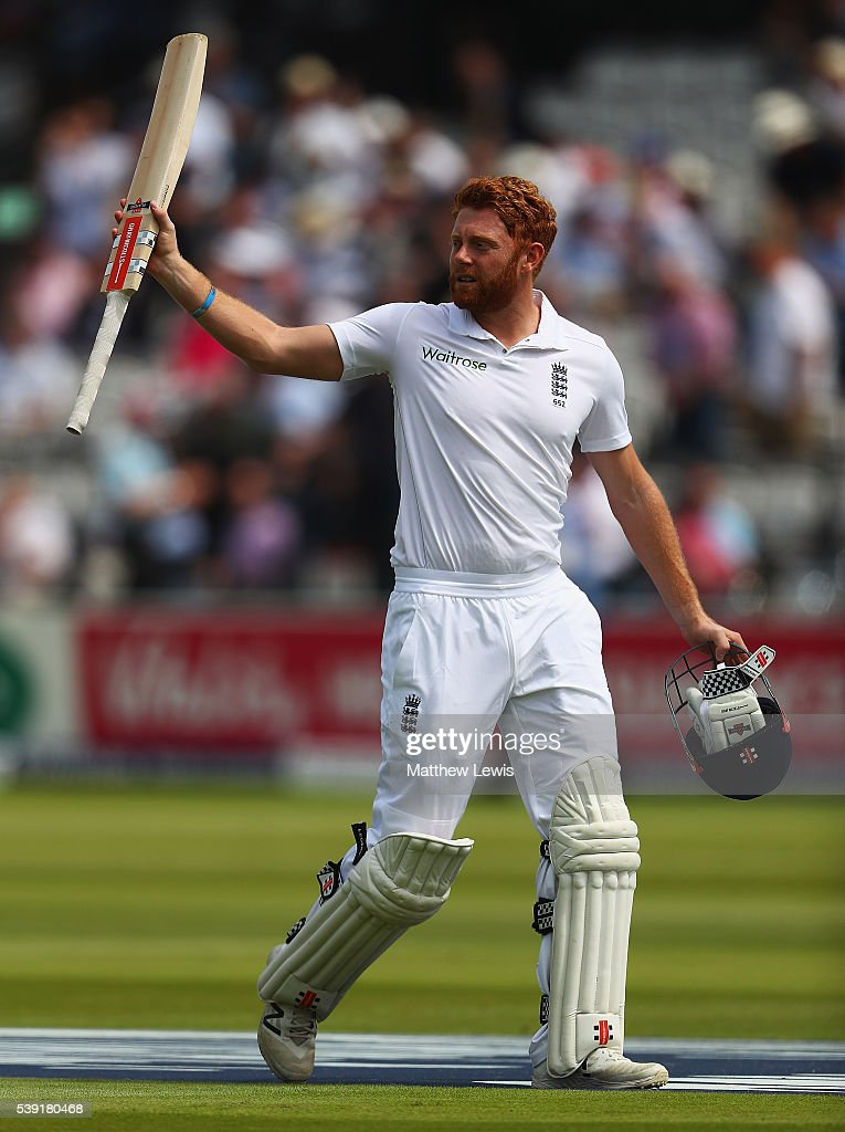 Jonny Bairstow of England salutes the crowd, after his innings of 167 runs during day two of the 3rd Investec Test match between England and Sri Lanka at Lord's Cricket Ground on June 10, 2016 in London, United Kingdom.