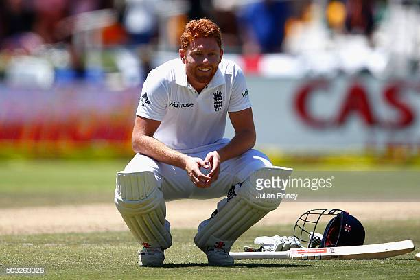 Jonny Bairstow of England smiles as he takes a break after scoring his century during day two of the 2nd Test at Newlands Stadium on January 3 2016...