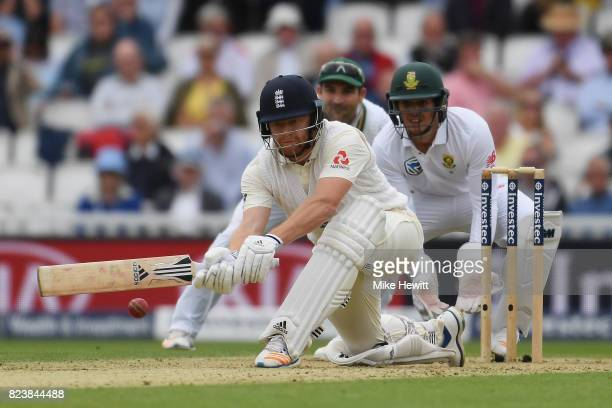 Jonny Bairstow of England sweeps during Day Two of the 3rd Investec Test match between England and South Africa at The Kia Oval on July 28 2017 in...