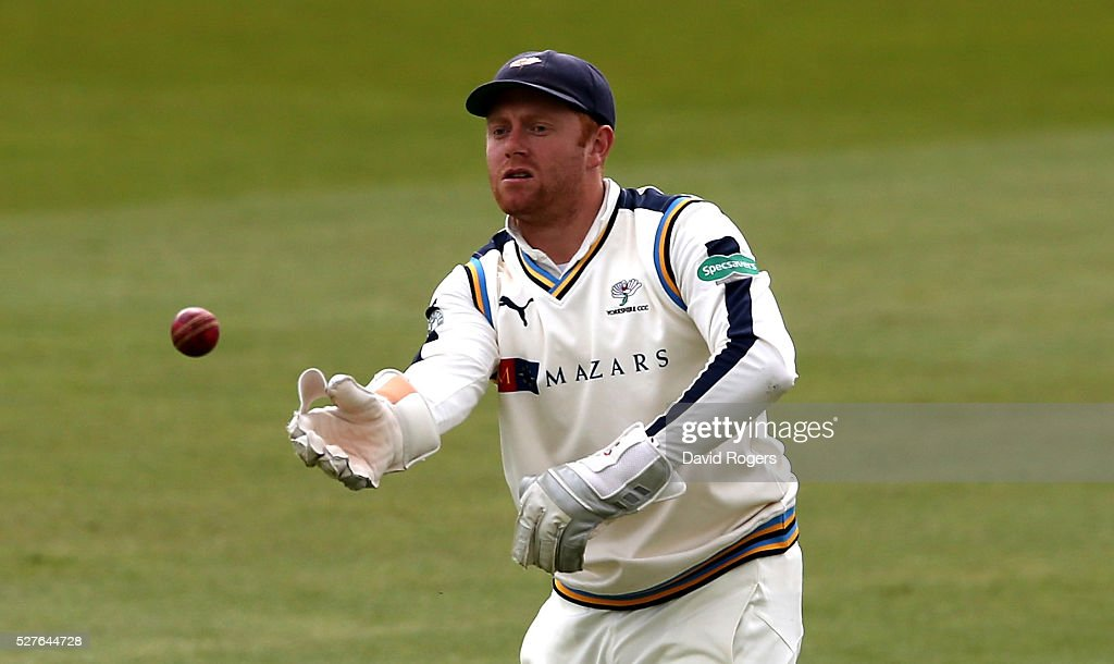 Jonny Bairstow of Yorkshire catches the ball during the Specsavers County Championship division one match between Nottinghamshire and Yorkshire at the Trent Bridge on May 3, 2016 in Nottingham, England.