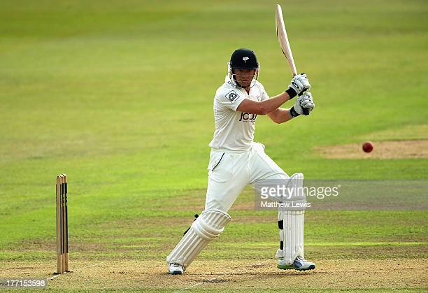 Jonny Bairstow of Yorkshire hits the ball towards the boundary during day one of the LV County Championship division one match between...