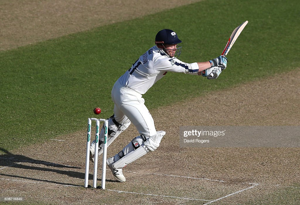 Jonny Bairstow of Yorkshire stretches for a wide delivery off the bowling of Stuart Broad during the Specsavers County Championship division one match between Nottinghamshire and Yorkshire at Trent Bridge on May 4, 2016 in Nottingham, England.