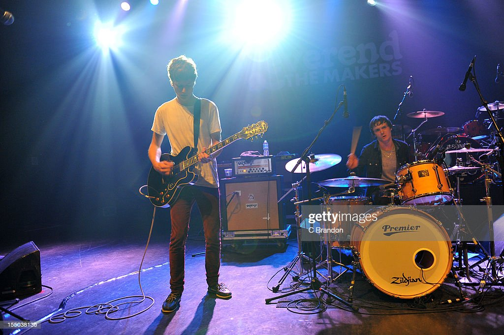 Jonny Brown and Eoghan Clifford of Twisted Wheel perform on stage at Shepherds Bush Empire on October 26, 2012 in London, United Kingdom.