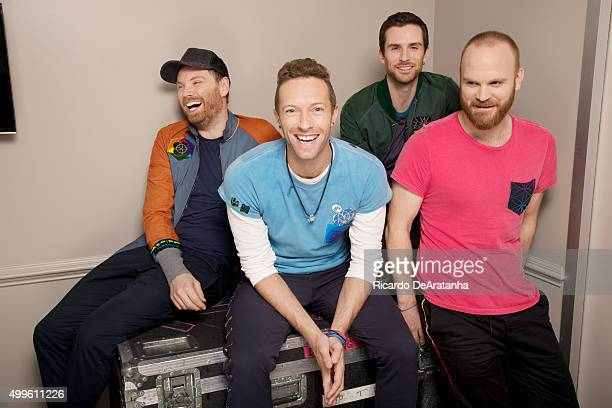 Jonny Buckland Chris Martin Guy Berryman and Will Champion of Coldplay are photographed for Los Angeles Times on November 12 2015 in Los Angeles...