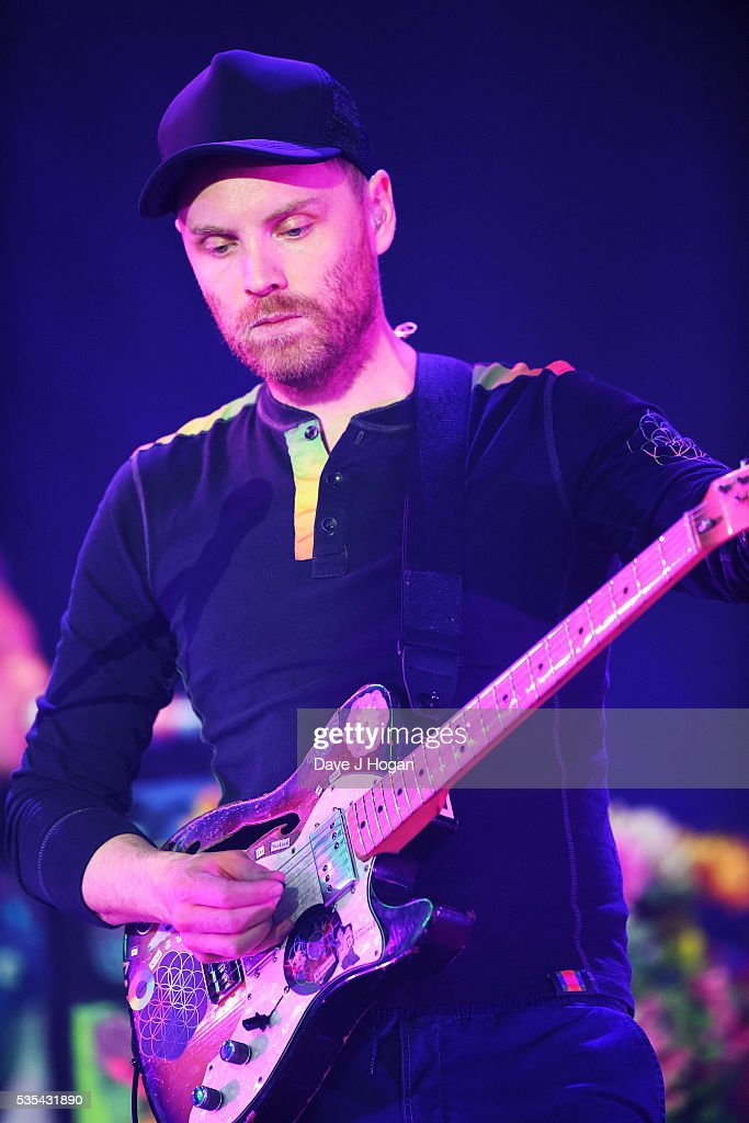 <a gi-track='captionPersonalityLinkClicked' href=/galleries/search?phrase=Jonny+Buckland&family=editorial&specificpeople=235773 ng-click='$event.stopPropagation()'>Jonny Buckland</a> of Coldplay performs during day 2 of BBC Radio 1's Big Weekend at Powderham Castle on May 29, 2016 in Exeter, England.