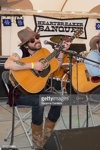 Jonny Burke Langhorne Slim Luke Bell and Daniel Romano perform at Heartbreaker Banquet on March 19 2015 in Luck Texas