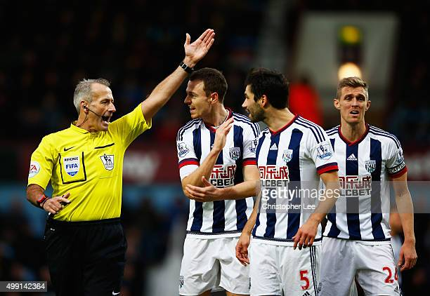 Jonny Evans Claudio Yacob and Darren Fletcher of West Bromwich Albion appeal to referee Martin Atkinson during the Barclays Premier League match...