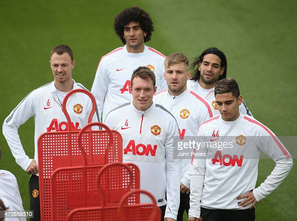 Jonny Evans Marouane Fellaini Phil Jones Luke Shaw Radamel Falcao and Andreas Pereira of Manchester United in action during a first team training...