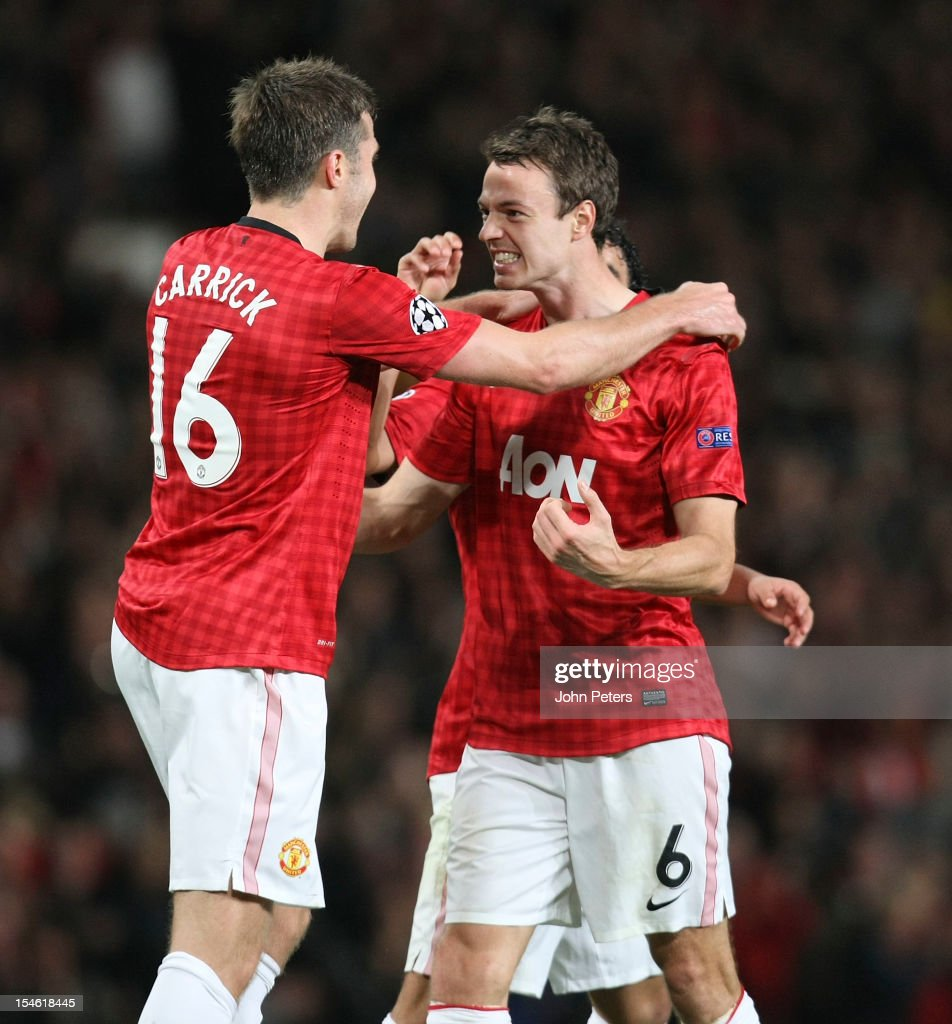 Jonny Evans of Manchester United celebrates scoring their second goal during the UEFA Champions League Group H match between Manchester United and SC...