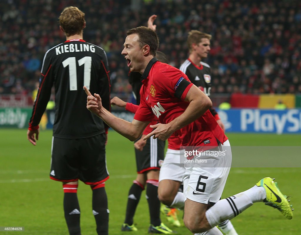 <a gi-track='captionPersonalityLinkClicked' href=/galleries/search?phrase=Jonny+Evans&family=editorial&specificpeople=747537 ng-click='$event.stopPropagation()'>Jonny Evans</a> of Manchester United celebrates scoring their third goal during the UEFA Champions League Group A match between Bayer Leverkusen and Manchester United at BayArena on November 27, 2013 in Leverkusen, North Rhine-Westphalia.
