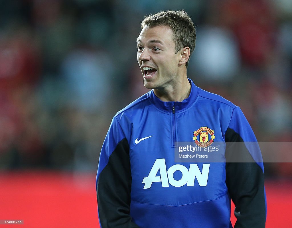 <a gi-track='captionPersonalityLinkClicked' href=/galleries/search?phrase=Jonny+Evans&family=editorial&specificpeople=747537 ng-click='$event.stopPropagation()'>Jonny Evans</a> of Manchester United in action during a first team training session as part of their pre-season tour of Bangkok, Australia, China, Japan and Hong Kong on July 19, 2013 in Sydney, Australia.