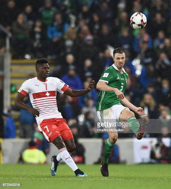 Jonny Evans of Northern Ireland and Breel Embolo of Switzerland during the FIFA 2018 World Cup Qualifier PlayOff first leg between Northern Ireland...