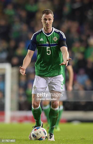 Jonny Evans of Northern Ireland during the international friendly between Northern Ireland and Slovenia at Windsor Park on March 28 2016 in Belfast...