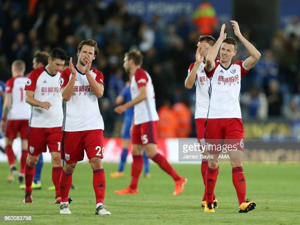 Jonny Evans of West Bromwich Albion and Grzegorz Krychowiak of West Bromwich Albion applaud the travelling supporters at full time after the Premier...