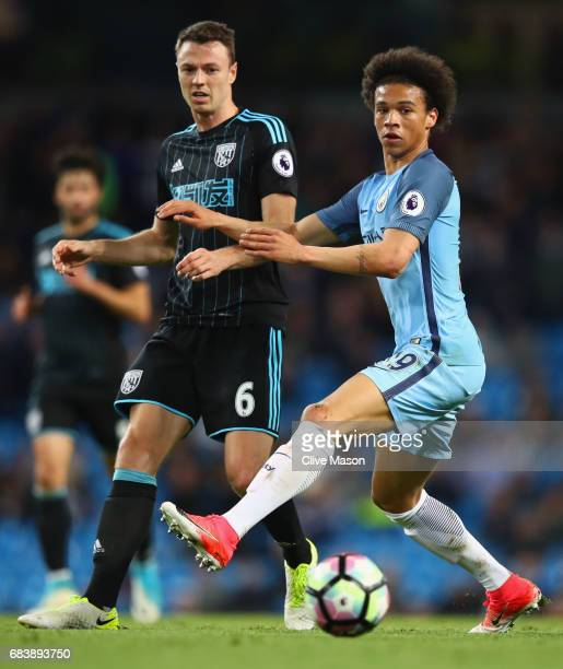 Jonny Evans of West Bromwich Albion and Leroy Sane of Manchester City during the Premier League match between Manchester City and West Bromwich...
